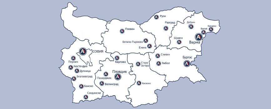 Разположение на офис-центровете в страната.