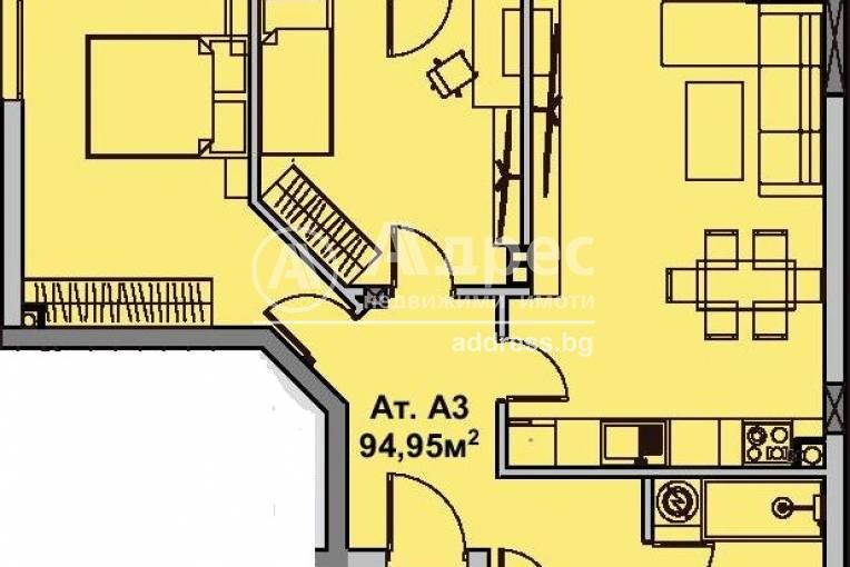 Тристаен апартамент, Бургас, Славейков, 491016, Снимка 1
