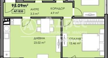 Тристаен апартамент, Бургас, Славейков, 524159, Снимка 1