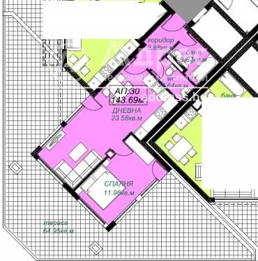 Двустаен апартамент, Бургас, Лазур, 426214, Снимка 1