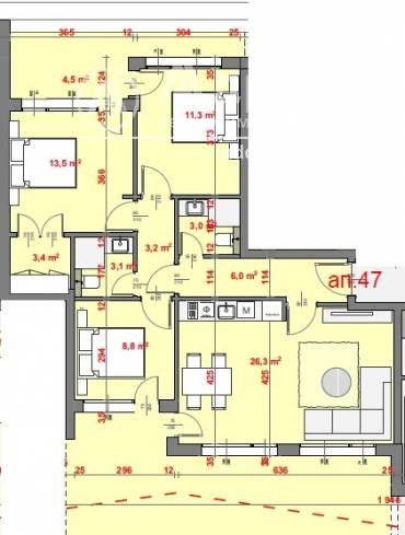 Тристаен апартамент, Стара Загора, Три чучура- център, 440244, Снимка 1