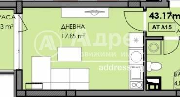 Едностаен апартамент, Бургас, Славейков, 502666, Снимка 1